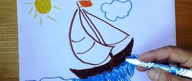 How to draw a boat, draw a sea and summer step by step, #YouTubeKids