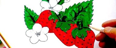 How to draw strawberries, draw the berries step by step, #YouTubeKids