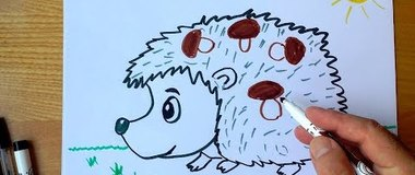 How to draw a Hedgehog for kids, Hedgehog Drawing, #YouTubeKids, #drawing, ##draw